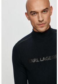 Niebieski sweter Karl Lagerfeld na co dzień, casualowy