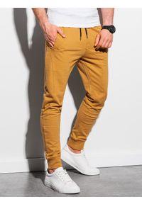 Ombre Clothing - Spodnie męskie dresowe joggery P952 - musztardowe - XXL. Kolor: żółty. Materiał: dresówka #3