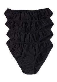 Figi damskie (4 pary) bonprix czarny. Kolor: czarny. Materiał: bawełna, materiał