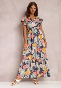 Renee - Granatowa Sukienka Theanais. Okazja: na co dzień. Kolor: niebieski. Materiał: materiał. Typ sukienki: proste, kopertowe. Styl: casual. Długość: maxi