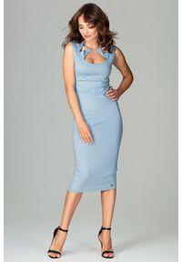 Katrus - Niebieska Klasyczna Ołówkowa Sukienka Midi z Ozdobnym Dekoltem. Kolor: niebieski. Materiał: poliester, wiskoza, elastan. Typ sukienki: ołówkowe. Styl: klasyczny. Długość: midi