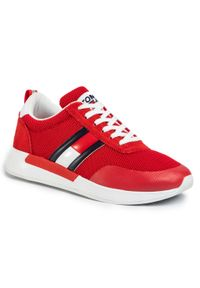 Czerwone półbuty Tommy Jeans z cholewką, klasyczne, na co dzień