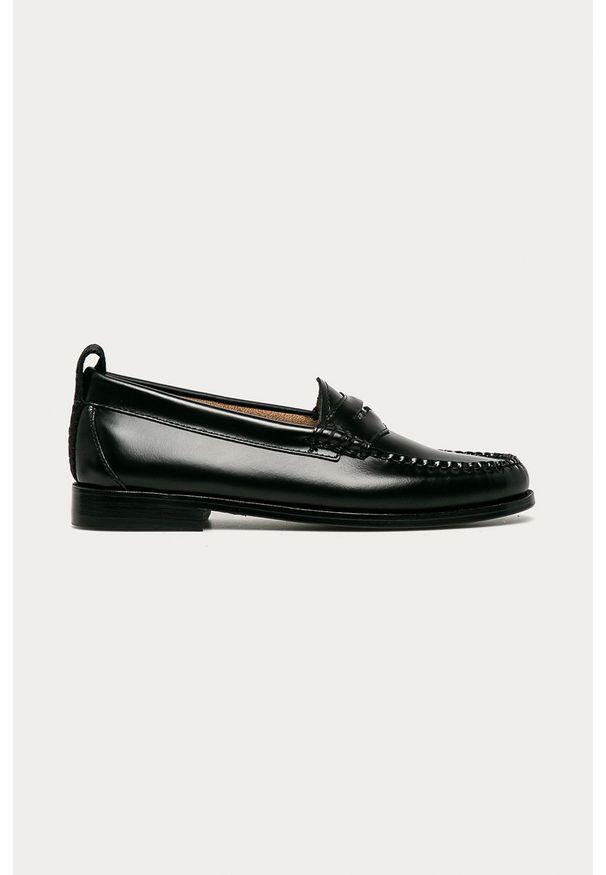 Czarne mokasyny Karl Lagerfeld z cholewką, na średnim obcasie, klasyczne, na obcasie