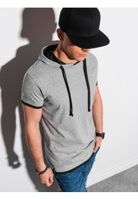 Szary t-shirt Ombre Clothing z kapturem, melanż