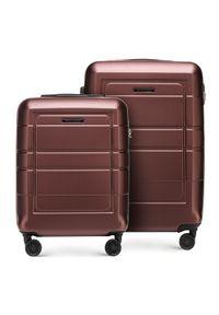 Brązowa walizka Wittchen w geometryczne wzory, elegancka