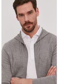 Szary sweter rozpinany Strellson raglanowy rękaw, casualowy, gładki