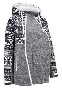 Bluza rozpinana ciążowa z polaru, z wstawką na nosidełko bonprix Bluza ciąż z pol z wst cz.kr. Kolekcja: moda ciążowa. Kolor: czarny. Materiał: wełna, polar. Wzór: nadruk