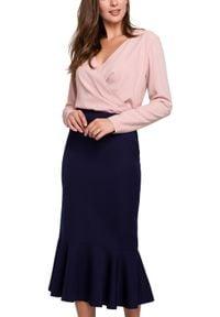 Makover - Elegancka ołówkowa spódnica midi zakończona falbaną. Materiał: elastan. Styl: elegancki