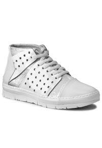 Białe sneakersy Khrio z cholewką, na płaskiej podeszwie