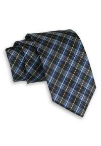 Alties - Niebiesko-Czarny Elegancki Męski Krawat -ALTIES- 7 cm, Klasyczny, w Drobną Kratkę. Kolor: niebieski. Materiał: tkanina. Wzór: kratka. Styl: klasyczny, elegancki