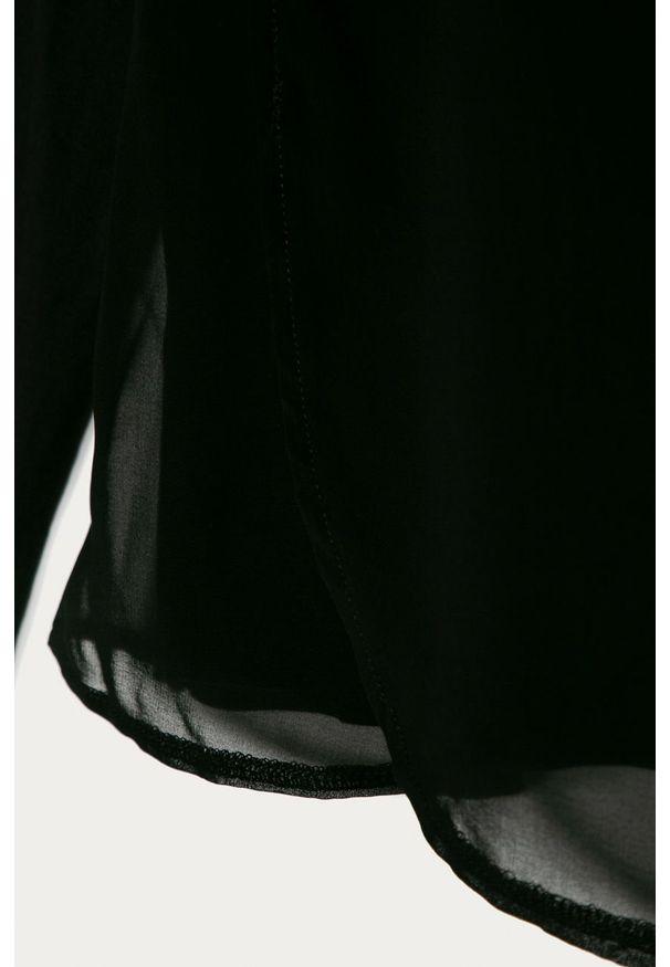 Czarna bluzka z długim rękawem Guess Jeans z okrągłym kołnierzem, długa, z aplikacjami