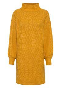 Sukienka dzianinowa bonprix miodowy. Kolor: pomarańczowy. Materiał: dzianina