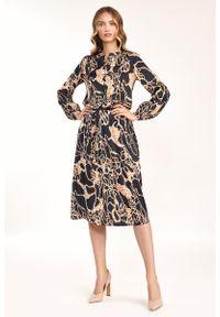 Nife - Rozkloszowana Midi Sukienka we Wzór Safari. Materiał: elastan. Długość: midi