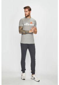 Szary t-shirt Ellesse z okrągłym kołnierzem, na co dzień, z nadrukiem