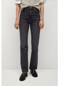 Szare jeansy bootcut mango vintage, z podwyższonym stanem