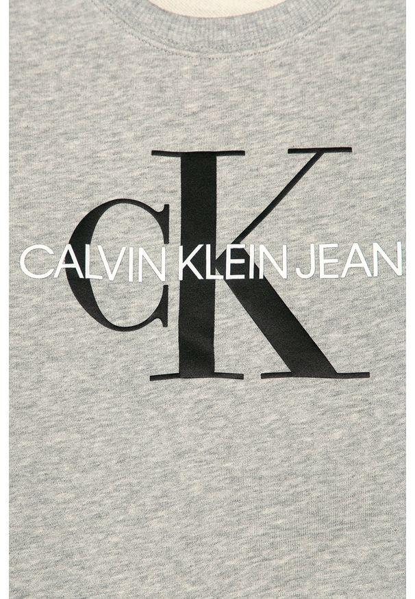 Szara bluza Calvin Klein Jeans z nadrukiem, na co dzień, casualowa