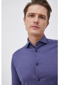 Eton - ETON - Koszula bawełniana. Typ kołnierza: kołnierzyk włoski. Kolor: niebieski. Materiał: bawełna. Długość rękawa: długi rękaw. Długość: długie. Wzór: gładki