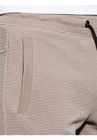 Ombre Clothing - Krótkie spodenki męskie dresowe W294 - brązowe - XXL. Kolor: brązowy. Materiał: dresówka. Długość: krótkie. Styl: sportowy, klasyczny