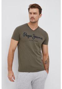 Pepe Jeans - T-shirt Original Stretch. Okazja: na co dzień. Kolor: zielony. Materiał: dzianina. Wzór: nadruk. Styl: casual
