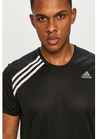Czarny t-shirt adidas Performance na co dzień, gładki, casualowy