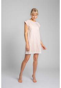 MOE - Koszula Nocna Wykończona Koronką - Brzoskwiniowa. Kolor: pomarańczowy. Materiał: koronka. Wzór: koronka