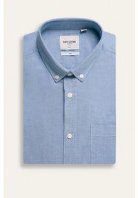 Only & Sons - Koszula. Typ kołnierza: button down. Kolor: niebieski. Materiał: tkanina. Wzór: gładki