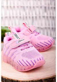 Różowe buty sportowe Casu na rzepy
