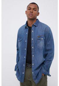 Wrangler - Koszula jeansowa. Typ kołnierza: kołnierzyk klasyczny. Kolor: niebieski. Materiał: jeans. Długość rękawa: długi rękaw. Długość: długie. Styl: klasyczny