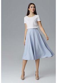 Niebieska spódnica rozkloszowana Figl