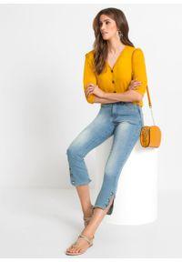 Shirt z rękawami balonowymi z przyjaznej dla środowiska wiskozy bonprix żółty szafranowy. Kolor: żółty. Materiał: wiskoza