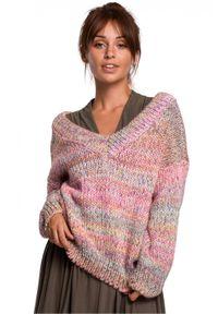 Wielokolorowy sweter melanż, z długim rękawem, długi
