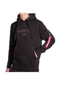 Czarna bluza Alpha Industries elegancka, z aplikacjami