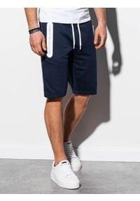 Ombre Clothing - Krótkie spodenki męskie dresowe W239 - granatowe - XL. Okazja: na co dzień. Kolor: niebieski. Materiał: dresówka. Długość: krótkie. Wzór: nadruk. Sezon: wiosna, lato. Styl: casual, klasyczny