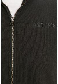 Czarna bluza rozpinana Only & Sons na co dzień, casualowa, bez kaptura
