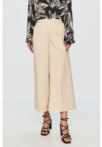 Kremowe spodnie materiałowe Pepe Jeans z podwyższonym stanem