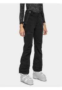 4f - Spodnie narciarskie damskie. Kolor: czarny. Materiał: materiał, softshell. Sezon: zima. Sport: narciarstwo