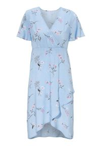 Niebieska sukienka Cellbes w kwiaty, kopertowa