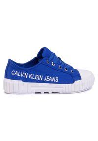 Niebieskie półbuty Calvin Klein Jeans na co dzień, z cholewką, casualowe