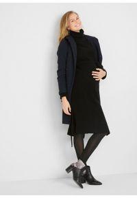 Czarna sukienka bonprix moda ciążowa, z golfem