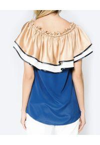 CRISTINAEFFE - Bluzka hiszpanka. Typ kołnierza: dekolt hiszpanka. Kolor: niebieski. Materiał: materiał. Sezon: lato