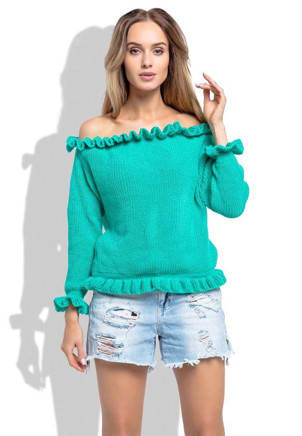 Zielony sweter Fobya z kołnierzem typu carmen