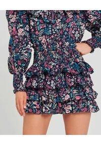 SELF LOVE - Spódnica w kwiatki Modena. Stan: podwyższony. Kolor: niebieski. Materiał: wiskoza, materiał. Wzór: kwiaty