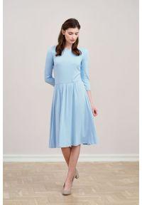 Marie Zélie - Sukienka Limosa błękitna. Kolor: niebieski. Materiał: wiskoza, dzianina, materiał, elastan. Długość: midi