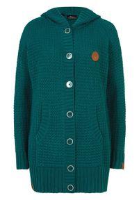 Sweter rozpinany z kapturem bonprix głęboki zielony. Typ kołnierza: kaptur. Kolor: zielony. Materiał: skóra. Długość: długie