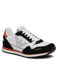 Emporio Armani - Sneakersy EMPORIO ARMANI - X4X537 XM678 Q093 Blk/Op.Wht/Orange/Si. Kolor: czarny, biały, wielokolorowy. Materiał: skóra, materiał, zamsz. Szerokość cholewki: normalna. Wzór: aplikacja
