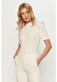 Biała bluzka Pieces casualowa, na co dzień, gładkie