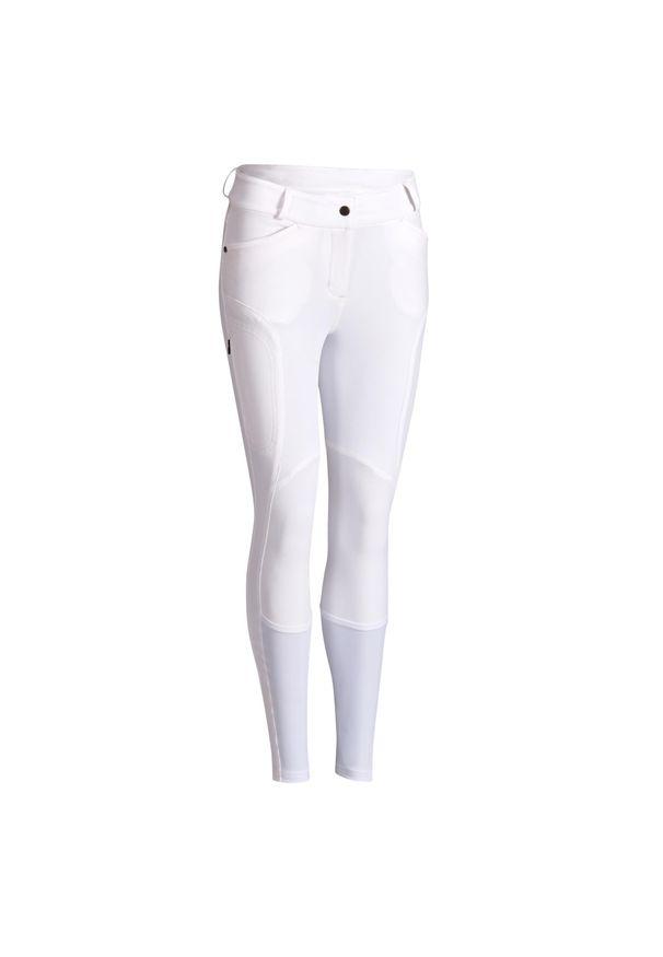 Bryczesy damskie FOUGANZA 560 Grip Jump. Kolor: biały. Materiał: syntetyk, lycra, elastan, materiał, poliamid