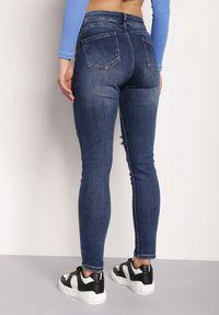 Renee - Granatowe Jeansy Push-Up Hekonia. Kolor: niebieski. Długość: długie. Wzór: aplikacja #5