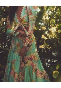 HEMANT & NANDITA - Turkusowa spódnica midi. Kolor: niebieski. Materiał: len, bawełna. Wzór: kwiaty, haft, aplikacja