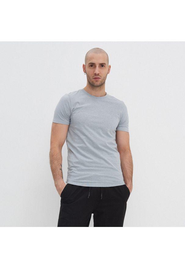 House - Koszulka slim fit basic - Jasny szary. Kolor: szary